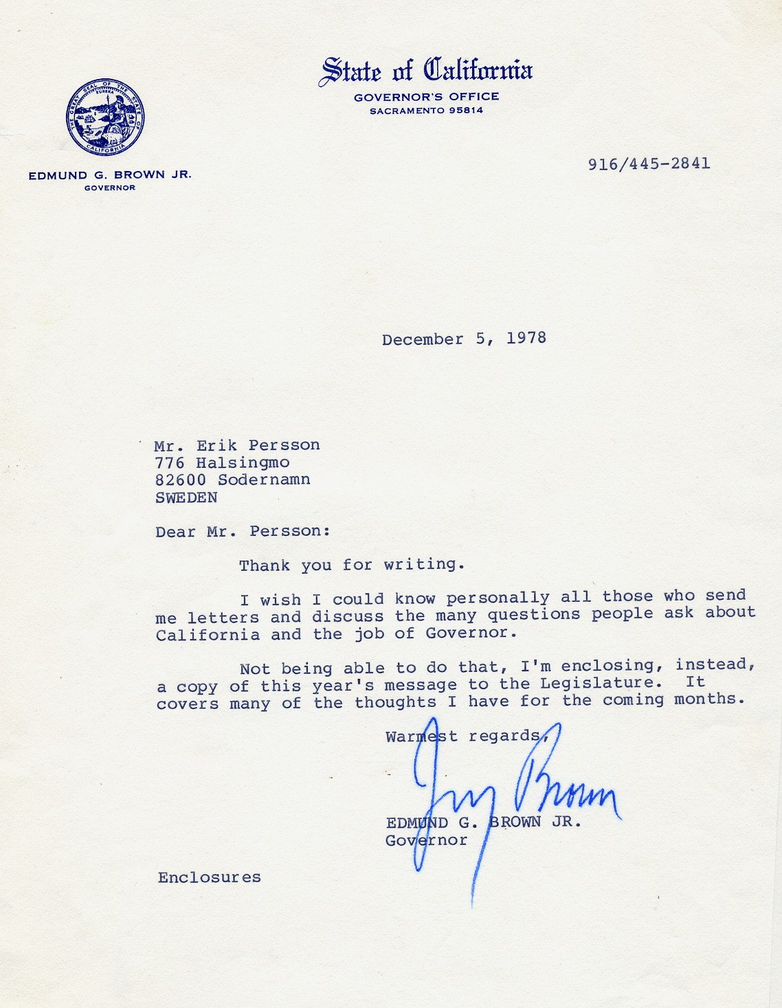 1975-83/2011- Governor of California JERRY BROWN Typed Letter Signed 1978