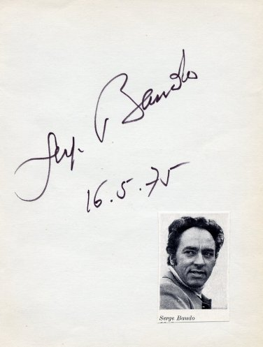 French Conductor SERGE BAUDO Autograph from 1975