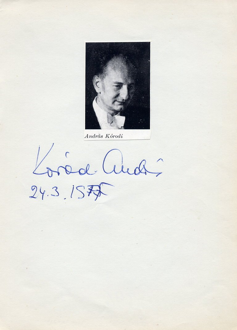 Hungarian Conductor ANDRAS KORODI  Autograph from 1975