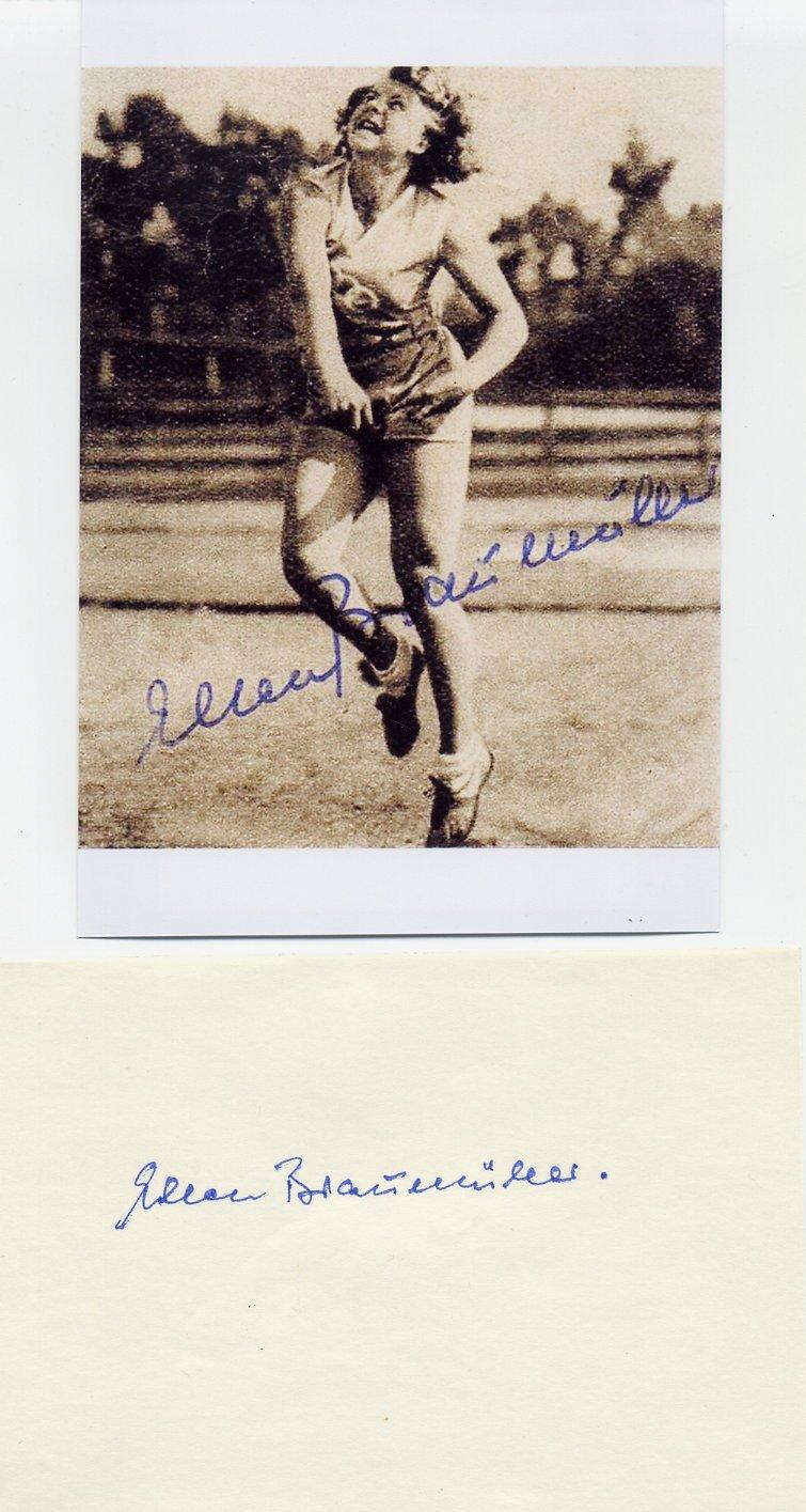 (R) 1932 Los Angeles Athletics Javelin Silver & WR  ELLEN BRAUMULLER  Autograph 1980s