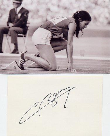 (R) 1968 Athletics 400m Gold COLETTE BESSON  Autograph 1980s