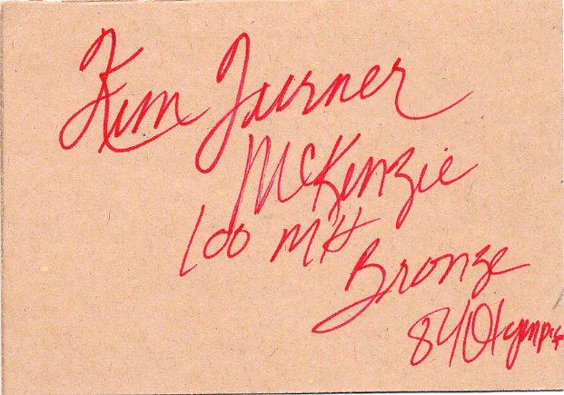 (R) 1984 Athletics 100m Hurdles Bronze KIM TURNER Autographed Card 1980s