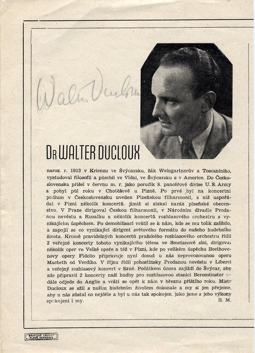 Noted Conductor WALTER DUCLOUX Autographed Concert Program 1946