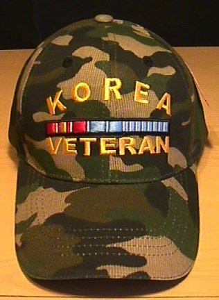 KOREAN WAR VETERAN WOODLAND CAMO CAP W/RIBBON