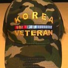 KOREAN WAR VETERAN WOODLAND CAMO CAP W/RIBBON