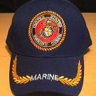 MARINE CIRLCLE LOGO CAP W/BRAID - NAVY BLUE
