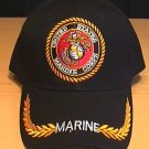 MARINE CIRLCLE LOGO CAP W/BRAID - BLACK