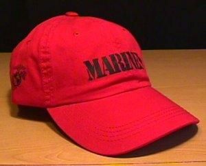 MARINES RELAXED FIT SILKSCREEN CAP - RED