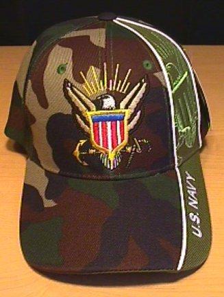 NAVY WEDGE CAP - WOODLAND