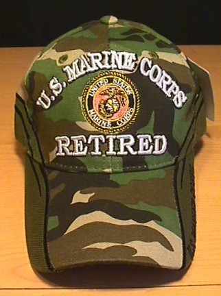 MARINES CORPS RETIRED CAP W/WOODLAND CAMO ACCENTS