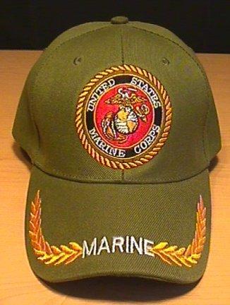MARINE CIRCLE LOGO CAP W/BRAID - GREEN