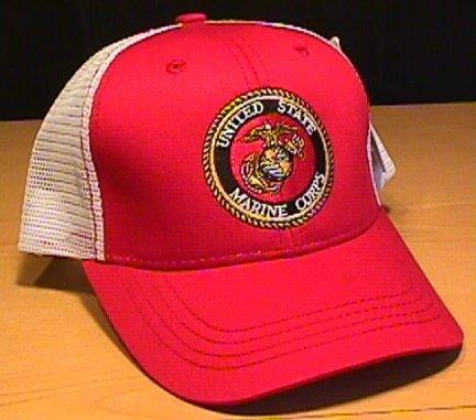 MARINE CIRCLE LOGO SUMMER MESHBACK CAP - RED