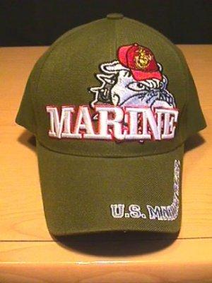 MARINE BULLDOG CAP W/ 3D TEXT - GREEN