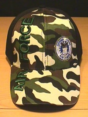 AIR FORCE VERTICAL TEXT CAP - WOODLAND CAMO