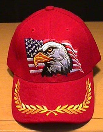 EAGLE ON FLAG CAP W/BRAID - RED