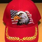 EAGLE ON FLAG CAP W/BRAID - RED
