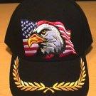 EAGLE ON FLAG CAP W/BRAID - BLACK