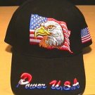 EAGLE ON FLAG CAP W/POWER USA ON BILL - BLACK