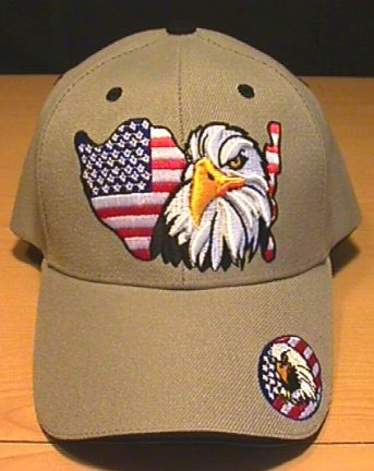 USA FLAG OUTLINE W/EAGLE - TAN