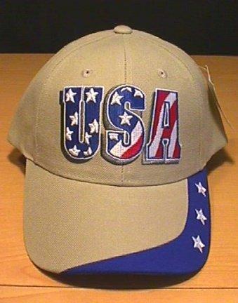 USA PATRIOTIC TEXT CAP W/STARS ON BILL