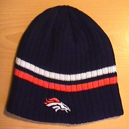 DENVER BRONCOS BEANIE W/ORANGE AND WHITE STRIPES