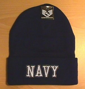 NAVY TEXT LOGO WINTER KNIT CAP - NAVY BLUE