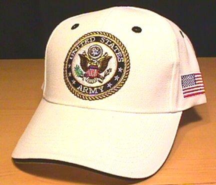 ARMY CIRCLE LOGO CAP W/FLAG - WHITE