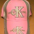 CHRIST IS KING CAP W/ACCENTS - PINK