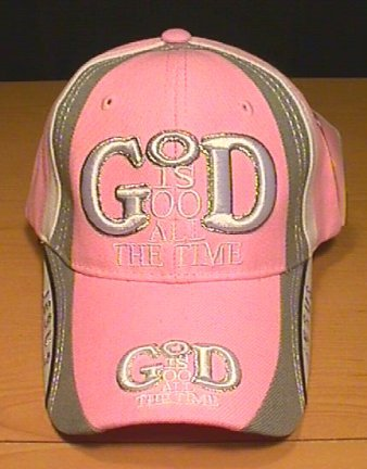 GOD IS GOOD ALL THE TIME CAP W/ACCENTS- PINK