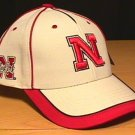 NEBRASKA CORNHUSKERS WHITE CAP W/RED PIPING
