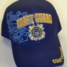 COAST GUARD HAT WITH LOGO AND BLUE SHADOW EMBROIDERY - NAVY