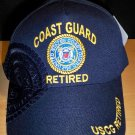 COAST GUARD RETIRED HAT W/NAVY SHADOW EMBROIDERY - NAVY