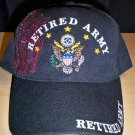 ARMY RETIRED HAT W/SHADOW EMBROIDERY - BLACK