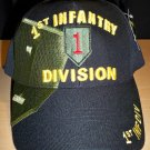 1st INFANTRY DIVISION HAT W/LARGE SHADOW EMBROIDERY - BLACK