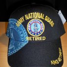 ARMY NATIONAL GUARD RETIRED W/BLUE EMBROIDERY - BLACK