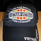 VIETNAM VETERAN HAT W/GREY OBLONG SHADOW EMBROIDERY - BLACK