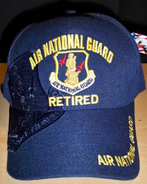 AIR NATIONAL GUARD RETIRED W/SUBDUES NAVY SHADOW EMBROIDERY - NAVY