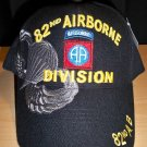82nd AIRBORNE DIVISION HAT W/GREY SHADOW EMBROIDERY - BLACK