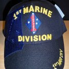 1ST MARINE DIVISION CAP W/SHADOW - BLACK