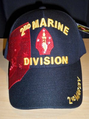 2ND MARINE DIVISION CAP W/SHADOW - BLACK