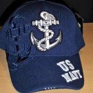 US NAVY CAP W/DETAILED ANCHOR & NAVY BLUE SHADOW EMBROIDERY