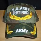 RETIRED ARMY W/GOLD ACCENTS ON BILL & CROWN - WOODLAND CAMO