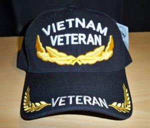 VIETNAM VETERAN W/GOLD ACCENTS ON BILL & CROWN - BLACK