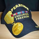 OPERATION ENDURING FREEDOM VETERAN HAT W/MEDAL EMBROIDERY - BLACK