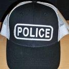 POLICE CAP - BLACK W/WHITE MESH