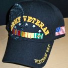 ARMY VIETNAM VETERAN CAP - BLACK W/RIBBON & SHADOW