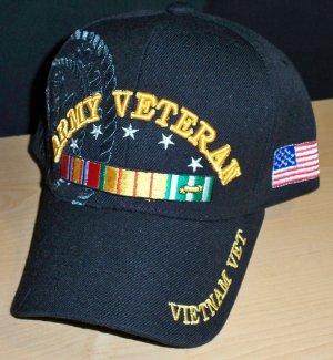 ARMY VIETNAM VETERAN CAP - BLACK W/RIBBON & SHADOW