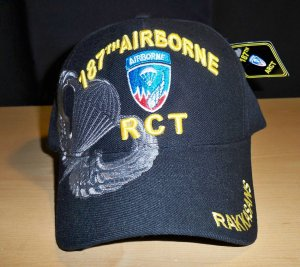 187TH AIRBORNE REGIMENT W/GREY SHADOW EMBROIDERY - BLACK