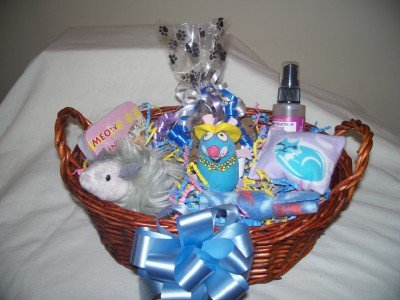 Purrfect Kitty Cat Gift Basket for Cats and Kittens in Blue