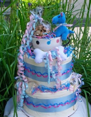 Blue Tea Cup Pup 2 Tier Puppy Shower Gift Cake